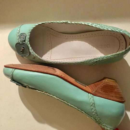 Diesel Leather Mint Flats Image 2