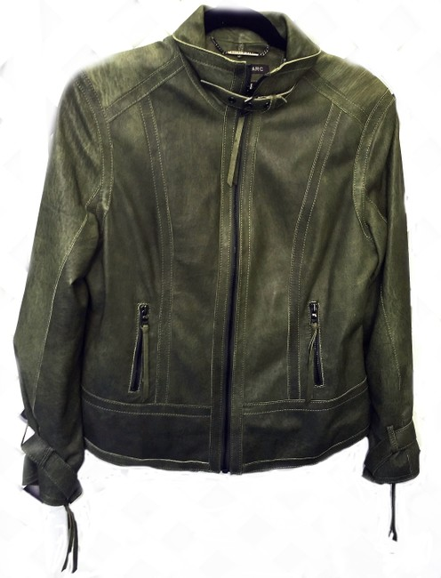 Andrew Marc Soft Supple Zipper Accents Tassels Grey GREEN Leather Jacket Image 1