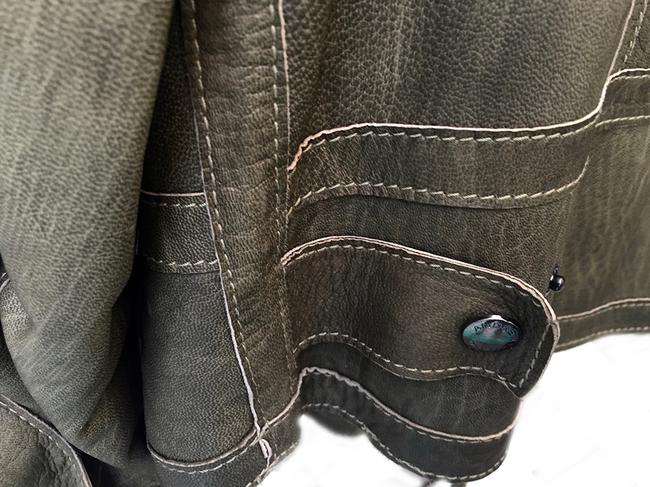 Andrew Marc Soft Supple Zipper Accents Tassels Grey GREEN Leather Jacket Image 2