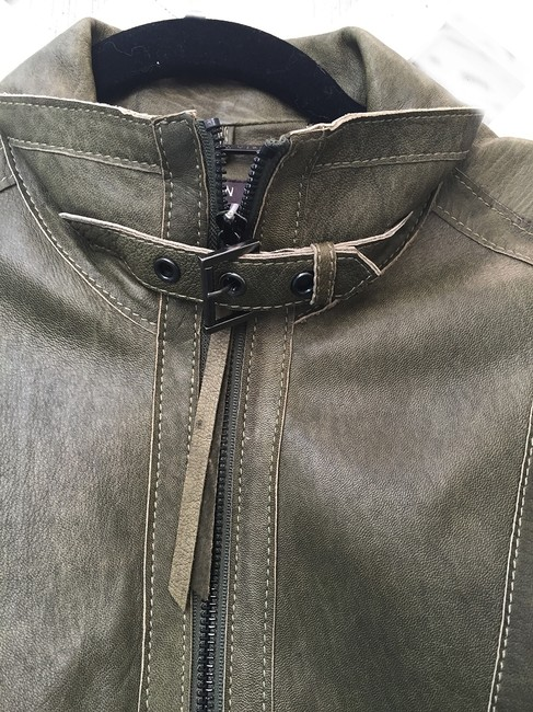 Andrew Marc Soft Supple Zipper Accents Tassels Grey GREEN Leather Jacket Image 3