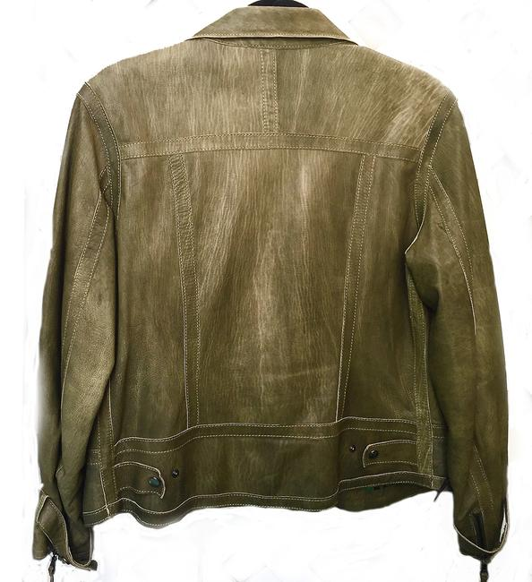 Andrew Marc Soft Supple Zipper Accents Tassels Grey GREEN Leather Jacket Image 4