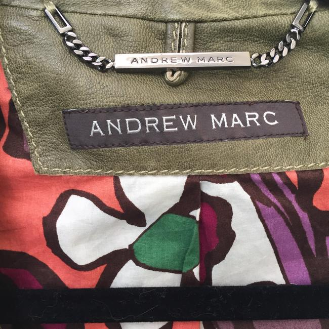 Andrew Marc Soft Supple Zipper Accents Tassels Grey GREEN Leather Jacket Image 9