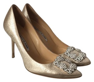Manolo Blahnik gold with silver Pumps