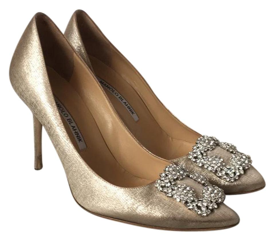 149be44490d Manolo Blahnik Gold with Silver Hangisi Pumps. Size  US 7.5 Regular (M ...