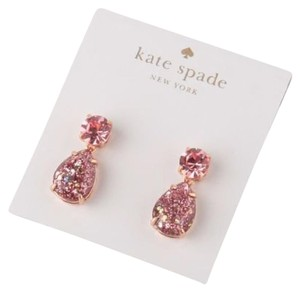 Kate Spade KATE SPADE Rose Gold-Plated Shine On Glitter Double Drop Earrings