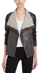 Vince Leather Longsleeve Casual Oversized Cotton black/creme/gray Leather Jacket
