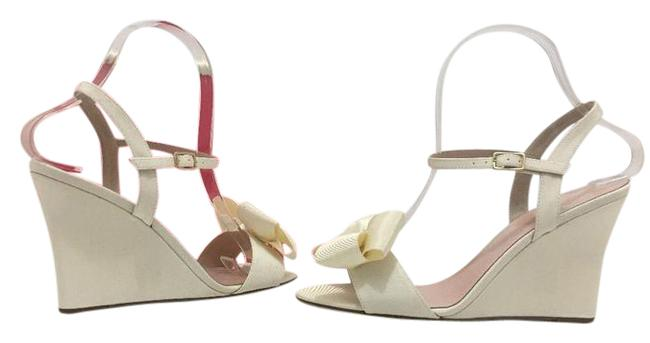 Item - Ivory Grosgrain Iballa Evening Women's Wedge High Heels Sandals Formal Shoes Size US 9 Regular (M, B)