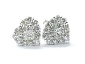 Other 18Kt Heart Shape Diamond Invisible Setting White Gold Stud Earrings 1.