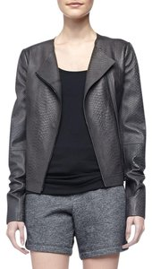 Vince Casual Longsleeve Leather Snakeskin Round blackish gray Leather Jacket