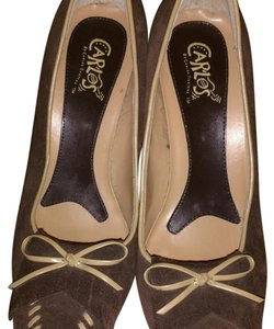 Carlos by Carlos Santana Brown with light brown leather trimming and bow Pumps
