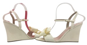 Kate Spade Wedge High Heels Sandals Ivory Grosgrain Formal