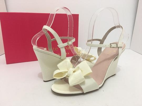 Kate Spade Wedge High Heels Sandals Ivory Grosgrain Formal Image 1