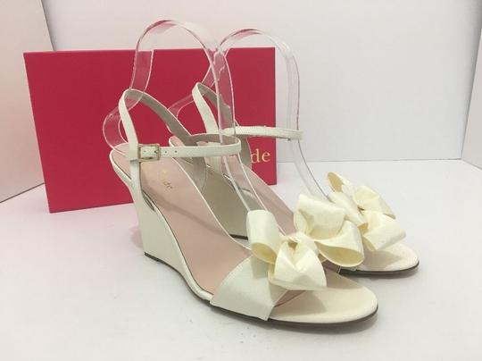 Kate Spade Wedge High Heels Sandals Ivory Grosgrain Formal Image 10