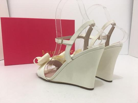 Kate Spade Wedge High Heels Sandals Ivory Grosgrain Formal Image 11