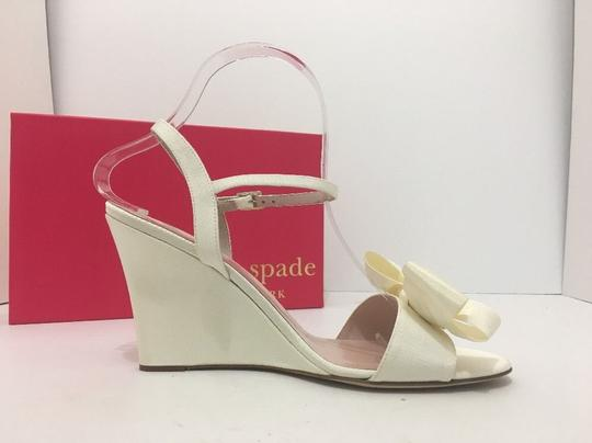 Kate Spade Wedge High Heels Sandals Ivory Grosgrain Formal Image 4