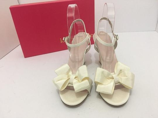 Kate Spade Wedge High Heels Sandals Ivory Grosgrain Formal Image 5