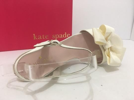 Kate Spade Wedge High Heels Sandals Ivory Grosgrain Formal Image 6