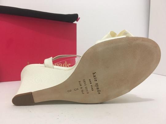 Kate Spade Wedge High Heels Sandals Ivory Grosgrain Formal Image 7