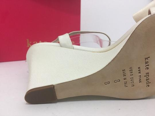 Kate Spade Wedge High Heels Sandals Ivory Grosgrain Formal Image 9
