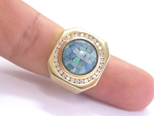 Other Fine Mens Opal Diamond Yellow Gold Circular Jewelry Ring 14KT 2.70Ct Image 5
