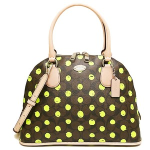 Coach Satchel in SILVER/BROWN/NEON YELLOW