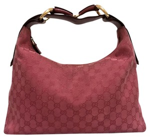 Gucci Tote Horsebit Red Leather Hobo Bag