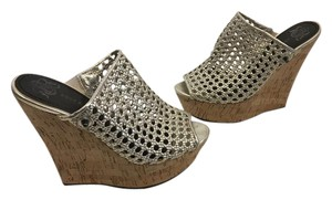 Rock & Republic Silver caged gladiator style on high cork base Wedges
