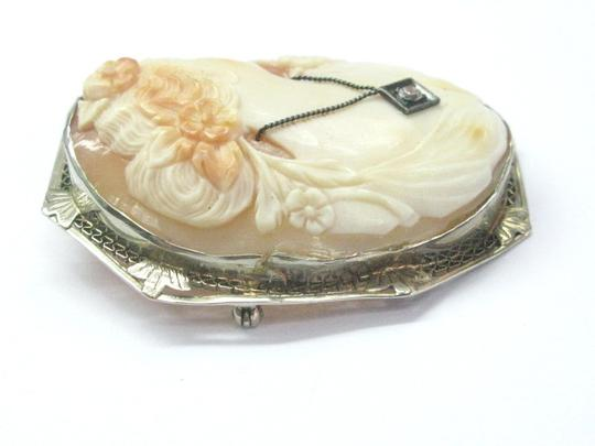Other Fine Vintage Cameo Old European Diamond Pin/Brooch .05Ct 2
