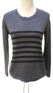 Sundry Striped Drawstring Athleisure Sweater