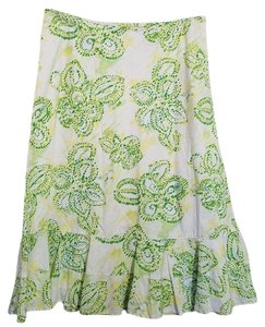Eddie Bauer Skirt Yellow Green White