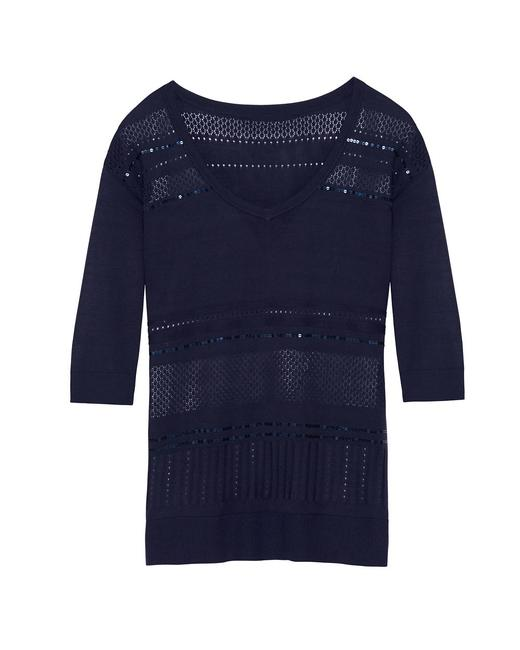 Preload https://img-static.tradesy.com/item/21107023/white-house-black-market-blue-new-with-tags-sequin-stripe-vee-neck-large-sweaterpullover-size-12-l-0-0-650-650.jpg