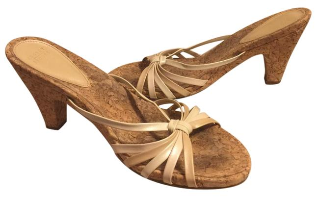 """Item - Gold/Cream/Tan/Cork Leather Upper Gold/Cream/Tan with 3.5"""" Sandals Size US 8 Narrow (Aa, N)"""