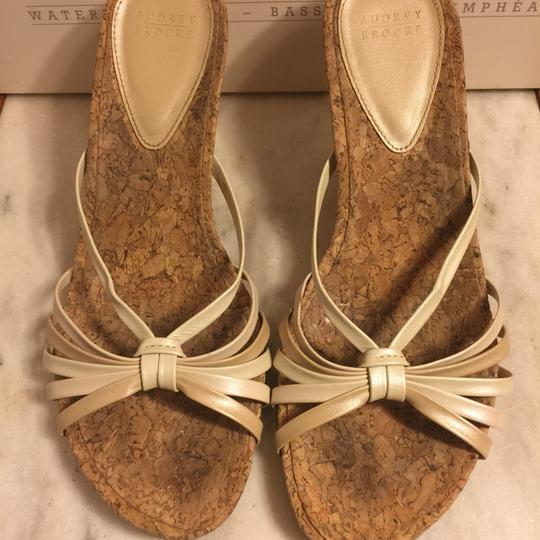 Audrey Brooke Gold/Cream/Tan/Cork Sandals Image 5