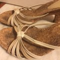 Audrey Brooke Gold/Cream/Tan/Cork Sandals Image 9