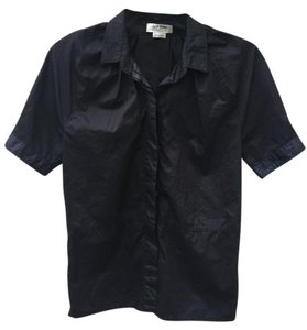 Acne Studios Acne Jeans Puff Sleeves Short Sleeves Straight Fit Button Down Shirt black