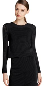 Parker Crop Long Sleeves Bodycon Fitted Mesh Top black