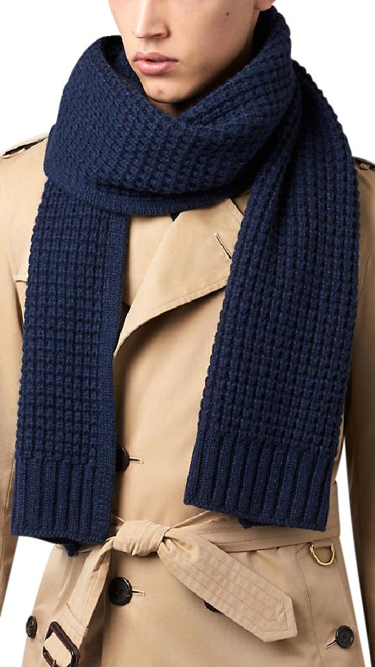 Burberry Navy Cashmere Waffle Knitted Scarf Wrap Tradesy