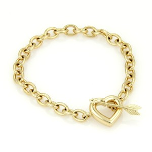 Tiffany & Co. 18k Yellow Gold Chain Link Cupid's Arrow & Heart Toggle Clasp Bracelet