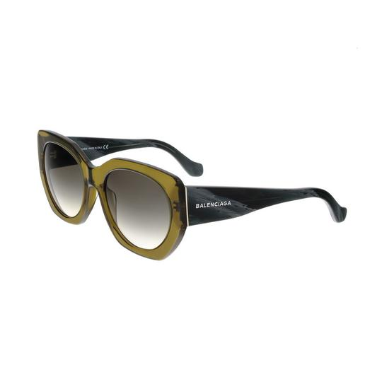 Balenciaga Balenciaga Olive Green/Black Horn Full-Rim Cat Eye Sunglasses Image 0