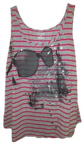 Lane Bryant Sparkle Embellished Sunglasses Striped Top gray & pink