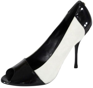 Gucci Leather Suede Colorblock Peeptoe Black / White Pumps