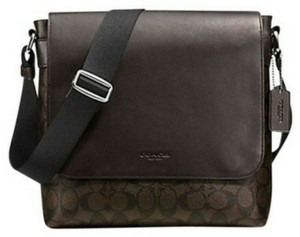 Coach Cross Body File Laptop Charles Dark brown and black Messenger Bag