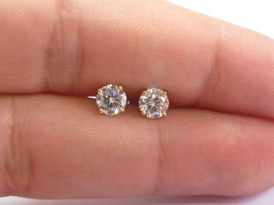 Other Fine Round Cut Diamond 4-Prong Yellow Gold Push Back Stud Earrings 1.0 Image 1