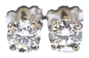 Other Fine Round Cut Diamond 4-Prong Yellow Gold Push Back Stud Earrings 1.0