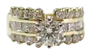 Other 14Kt Round Engagement Solitaire with Accents Diamond Yellow Gold Ring