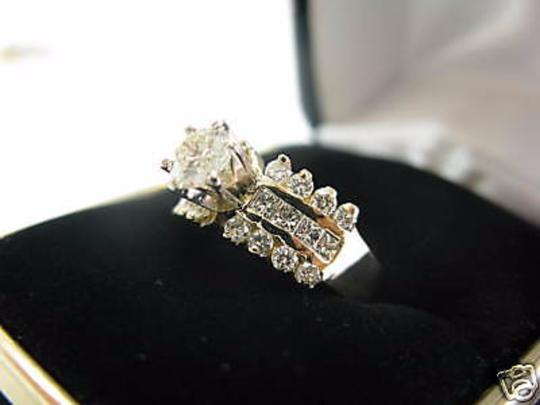 Other 14Kt Round Engagement Solitaire with Accents Diamond Yellow Gold Ring Image 2
