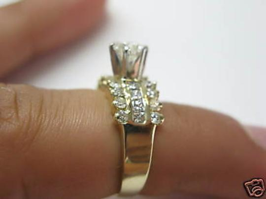 Other 14Kt Round Engagement Solitaire with Accents Diamond Yellow Gold Ring Image 3