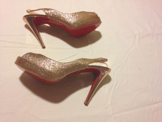 Christian Louboutin Rose Red Sole Sparkle Gold Platforms Image 1
