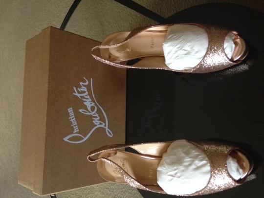 Christian Louboutin Rose Red Sole Sparkle Gold Platforms Image 2