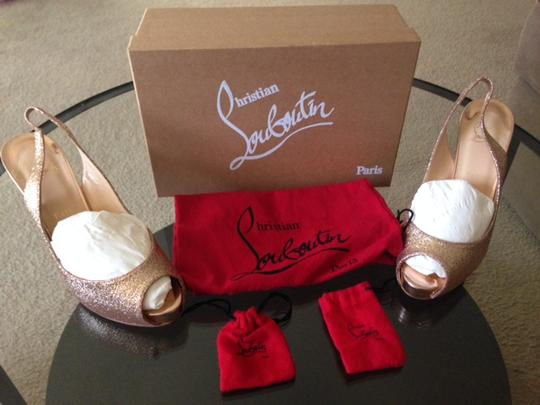 Christian Louboutin Rose Red Sole Sparkle Gold Platforms Image 4